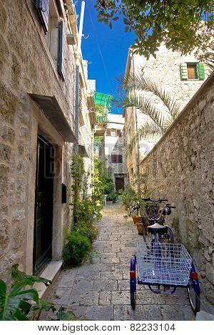 Narrow Mediterranean Stone Street In Stari Grad