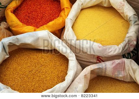 Colorful Food In Bags