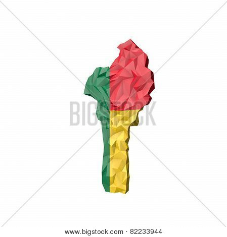Low Poly Benin Map With National Flag