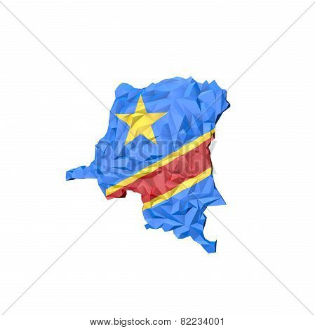 Low Poly Democratic Republic Of The Congo Map With National Flag