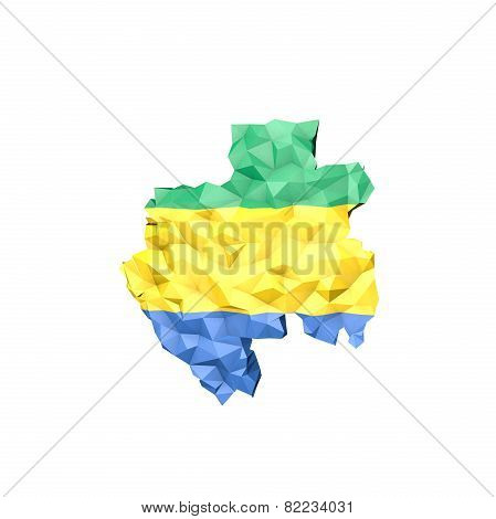 Low Poly Gabon Map With National Flag