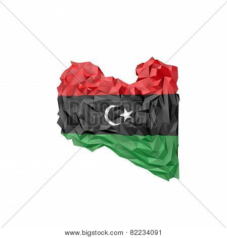 Low Poly Libya Map With National Flag