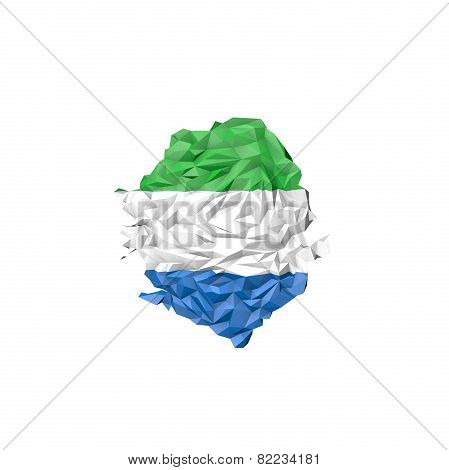 Low Poly Sierra Leone Map With National Flag