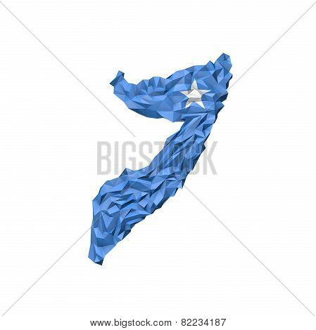 Low Poly Somalia Map With National Flag