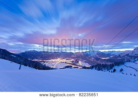 view from ski to the lights of austrian valley