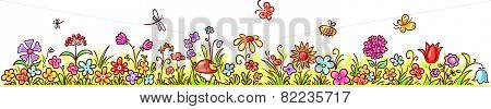 Horizontal Cartoon Flower Border