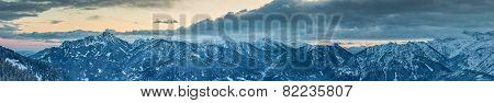 panorama of austrian snow mountain peaks at winter