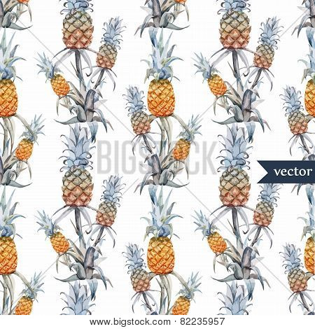 watercolor, tropical, pineapple, exotic, pattern