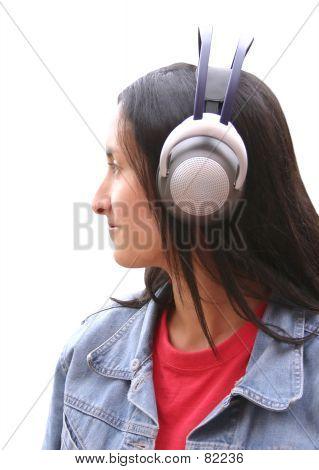 Girl With Wireless Headphones