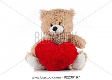 Teddy Bear Holding A Heart On White