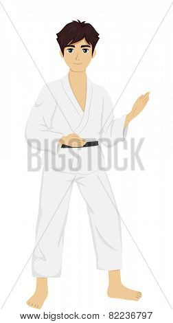 Illustration of a Teenage Boy in Judo Uniform Practicing His Skills