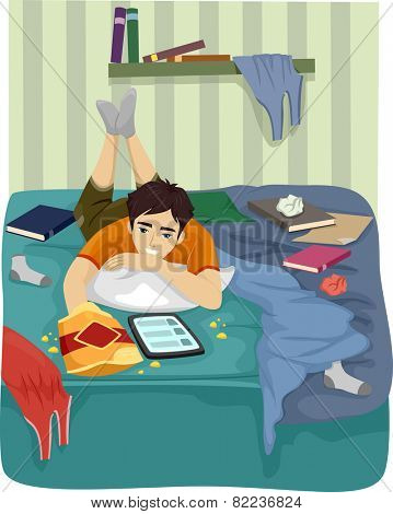 Illustration of a Teenage Boy Browsing the Internet on His Tablet in His Messy Room