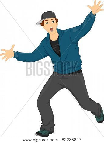 Illustration of a Teenage Boy Dancing Hip Hop