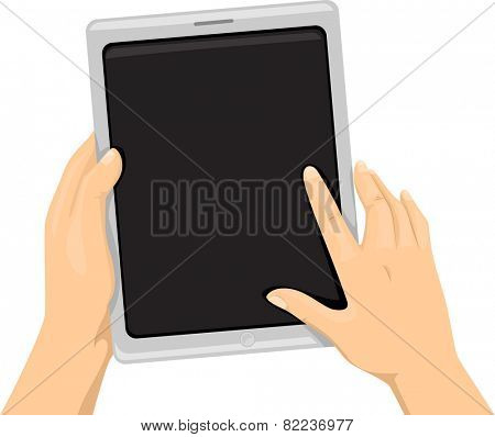Cropped Illustration of a Person Using a Tablet Computer