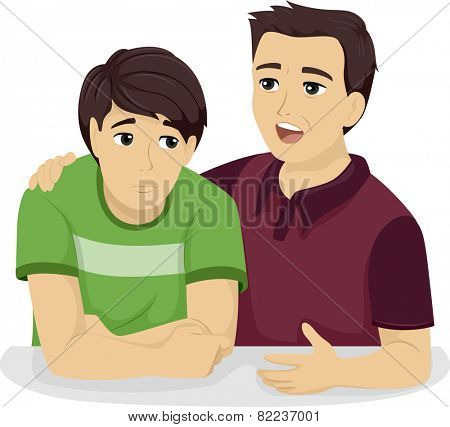 Illustration of a Father Giving His Teenage Son Some Advice