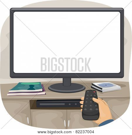 Illustration of a Person Aiming the Remote Control at the TV
