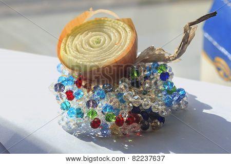 Half Of The Onion Bulbs And Nice Colored Beads