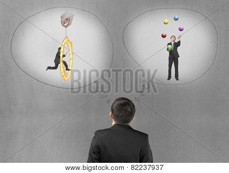 Business Man Imagining Work Situation With Concrete Wall