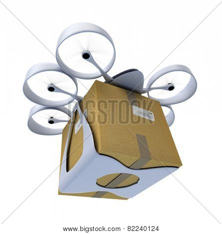 3D rendering of a flying drone carrying a box against a white background