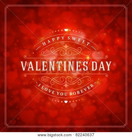 Happy Valentine's day Greeting Card and Bokeh Heart Light Vintage Vector Background