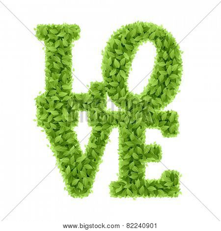 Word Love from leaves, Valentines Day. Vector.