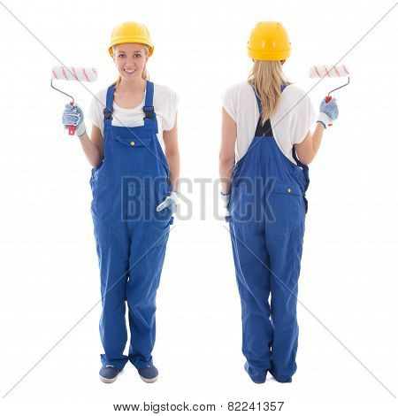 Front And Back View Of Young Woman Painter In Blue Builder Uniform With Paint Brush Isolated On Whit