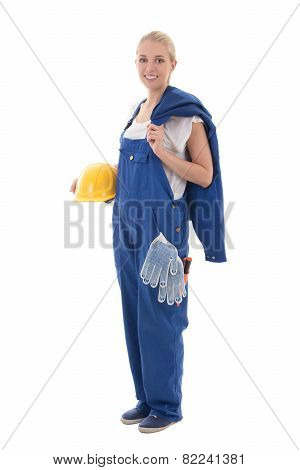 Beautiful Woman In Blue Builder Uniform Holding Yellow Helmet Isolated On White