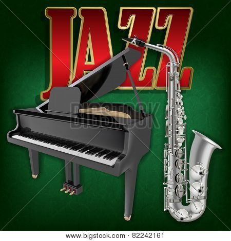 Abstract Grunge Music Background With Saxophone And Grand Piano