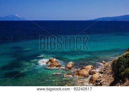 Mediterranean Sea. Greek Beach Of Sea