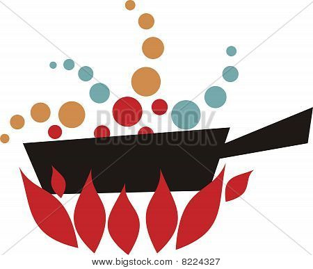 Retro Simmering Boiling Flaming Skillet Frying Pan