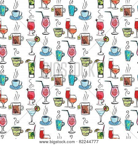 Seamless pattern with various drinks and cocktails.