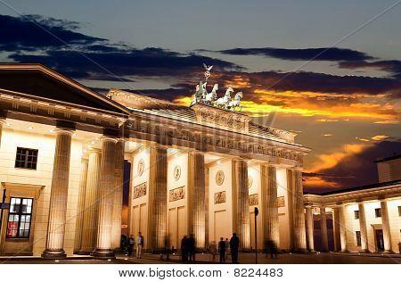 Brandenburg Gate At Sunset In Berlin