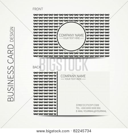 Vintage creative simple monochrome business card template for your design.  Line seamless pattern wi