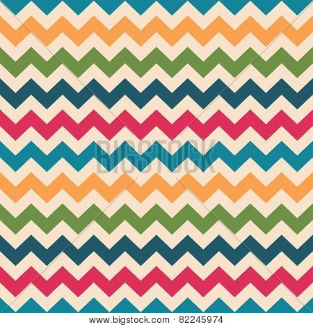 Chevron seamless pattern. Zigzag texture in retro colors, seamless vector background