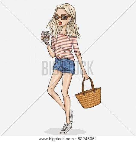 Hand drawn fashion girl illustration