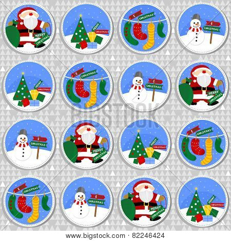 colorful Christmas winter holiday round badge seamless pattern