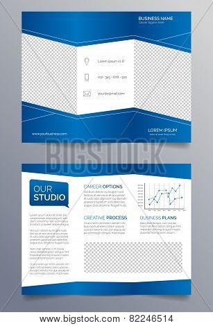 Business trifold brochure template - blue and white sleek modern design
