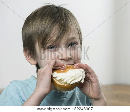 Eating Cream Bun