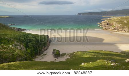 Scottish Landscape With Beach And Ocean. Highlands. Scotland