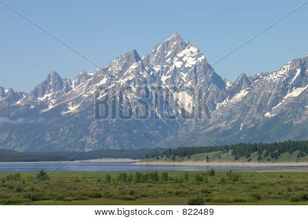 Grand Teton Mountain Scenic View with River