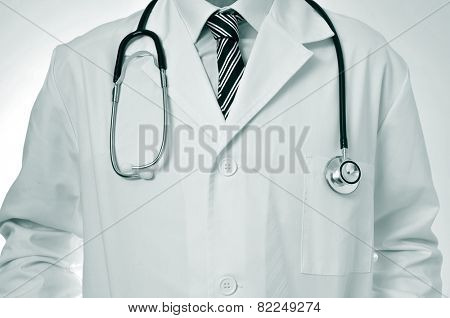 closeup of a doctor wearing a white coat and with a stethoscope