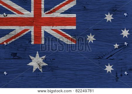 Australia National Flag Painted Old Oak Wood Fastened