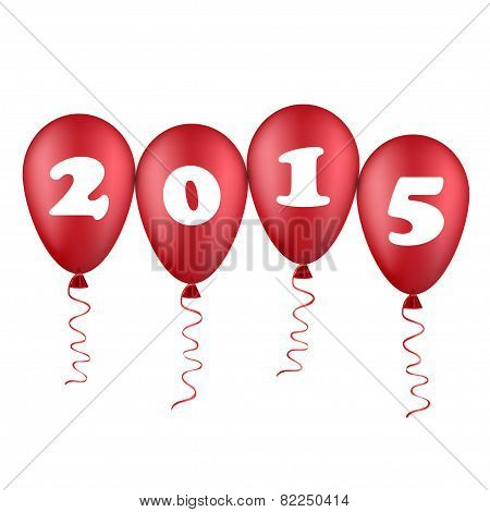 new year illustration with red balloons