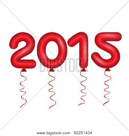 Happy new year card, balloons letters