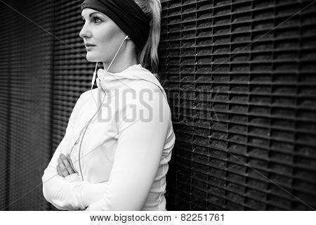Fitness Female Taking A Break For Training Session