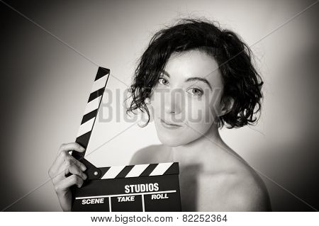 Seductive Actress With Clapperboard, Vintage Black And White Closeup