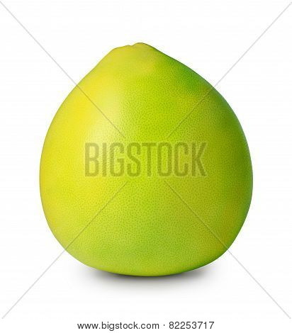 Green pomelo isolated on white with clipping path