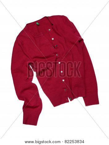 Red Pullover Isolated On White Background