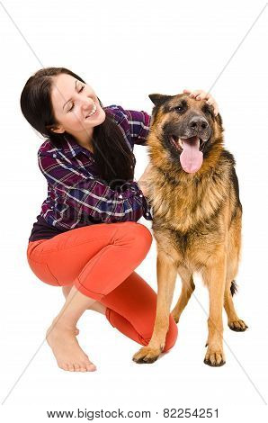 Beautiful young woman and a German Shepherd
