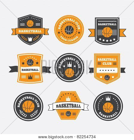 Basketball Set Vintage Emblems, Labels And Logos Or Symbols